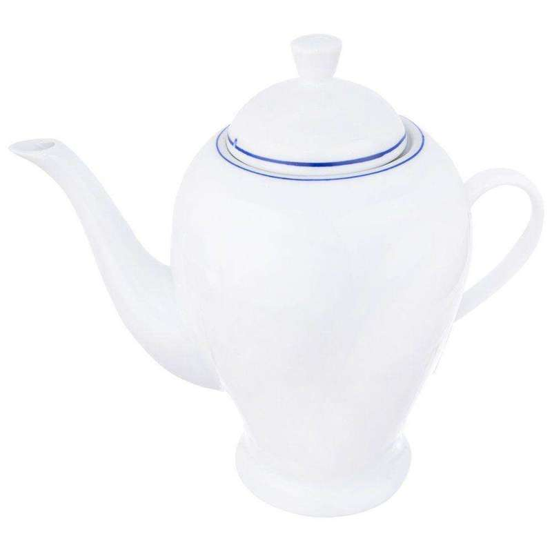 Porzellankanne Kaffeekanne Teekanne mit Henkel BLUE LINE 1,2l