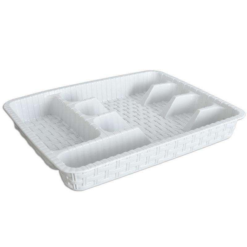 Organizer wkład do szuflady na sztućce przybory rattanowy 37,5x29 cm biały