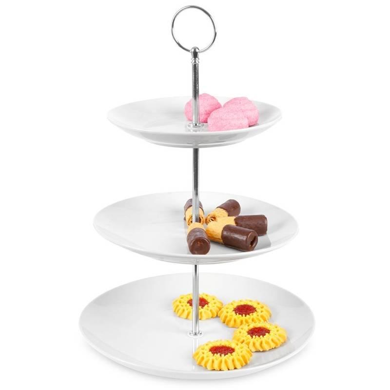 Porcelanowa patera piętrowa 3-piętrowa na ciastka ciasto babeczki 35 cm
